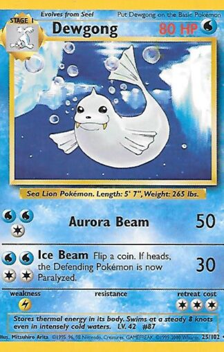 1999 Pokemon Base Unlimited #025 Dewgong