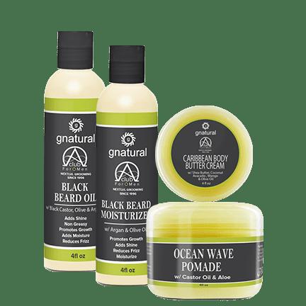 Black Beard Oil, Black Beard Moisturizer, and Ocean Wave Pomade by Alpha Club 4 Men