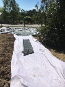 DIY Garden stream geo tetile underlay
