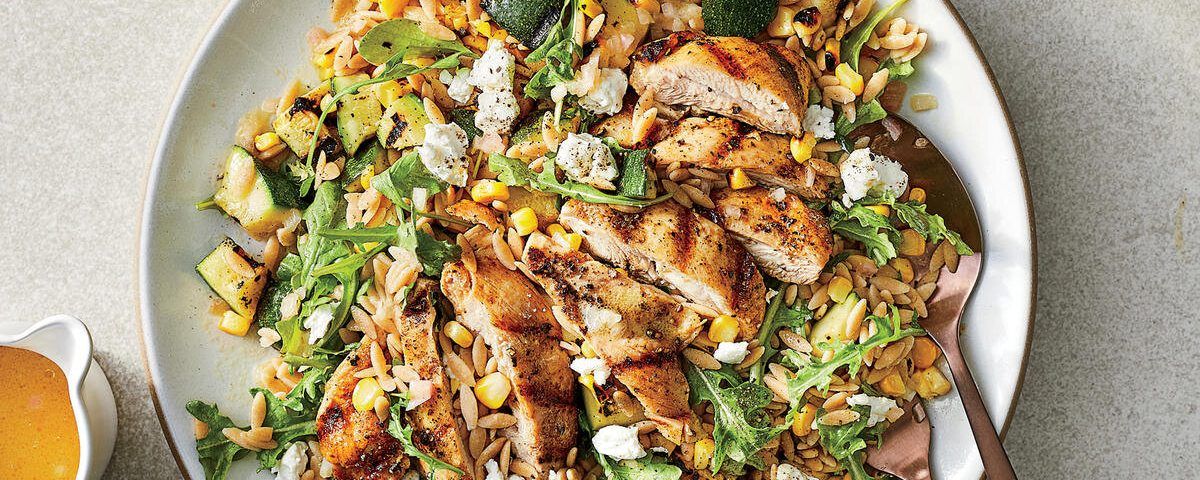 Creamy Lemon-Pepper Orzo with Grilled Chicken