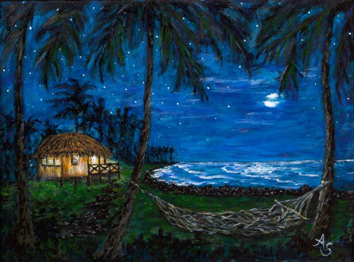 Andrea Sikkink Hilo Night Paradise 9x12 176, 3/21/13, 5:16 PM,  8C, 4844x6377 (2935+2799), 142%, Custom,   1/8 s, R33.3, G24.5, B43.7