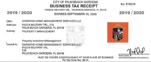 Gardens Home Management Business Tax Receipt