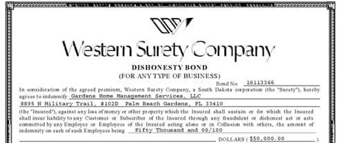 Gardens Home Management Western Surety Company Bond