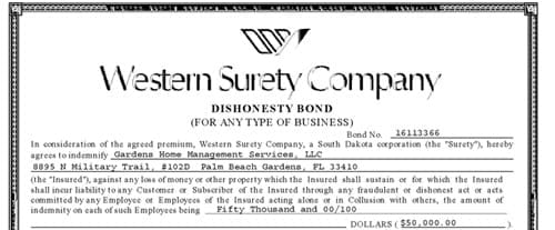 Gardens Home Management Western Surety Company Bond