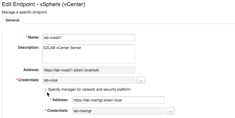 Adding NSX Manager to vSphere Endpoint