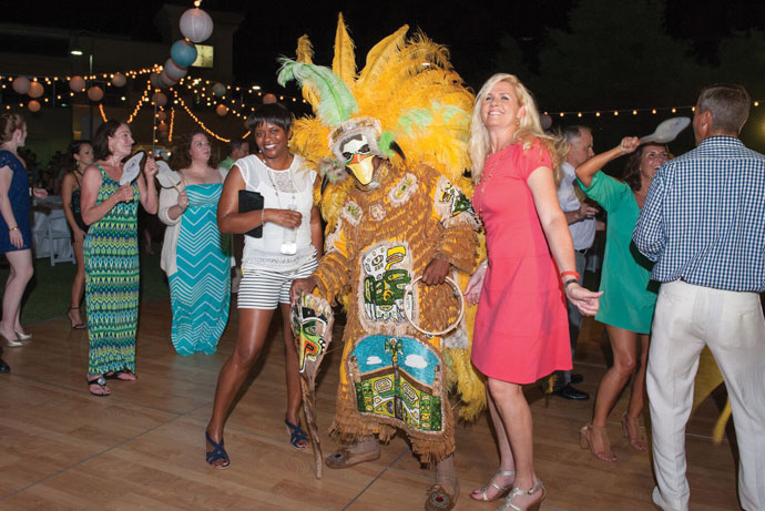 Guests enjoyed dancing with The Mardi  Gras Indians.
