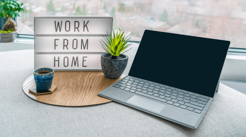 Work from home sign with computer on Techfullypro.com