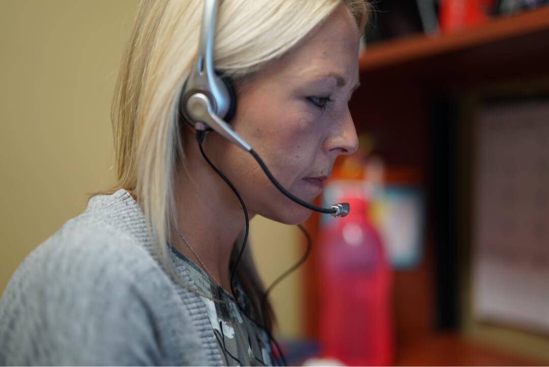 woman on call blonde nurse advice company