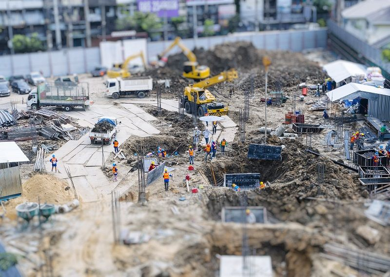 Comp Construction site outdoor with crane People working top view