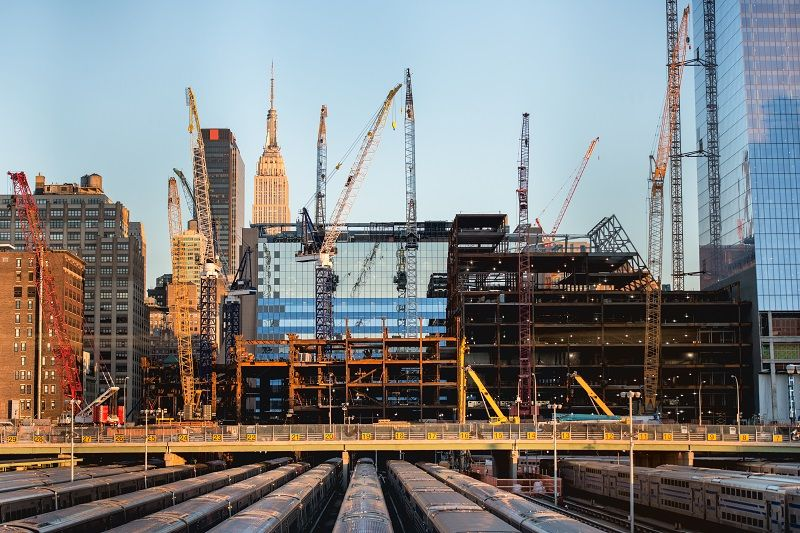 tall buildings under construction and cranes in New York City Art 4 comp
