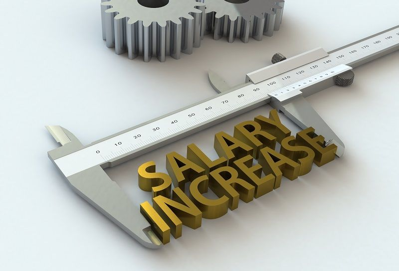 SALARY INCREASE message on vernier caliper 3D rendering cm
