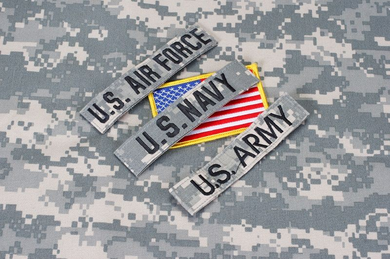 US military branch tapes whith US flag on camouflage uniform cm