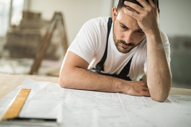 Frustrated manual worker