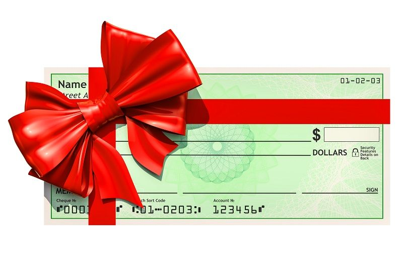 Blank-bank-check-with-red-bow,-cm