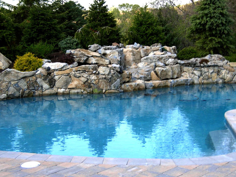 Custom Pool Rock Waterfall and Paver Poolscape, Chester NJ
