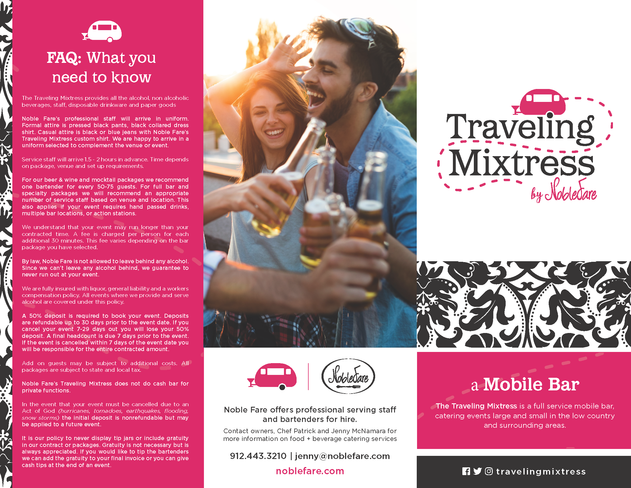 Noble Fare Catering - Traveling Mixtress Menu Brochure