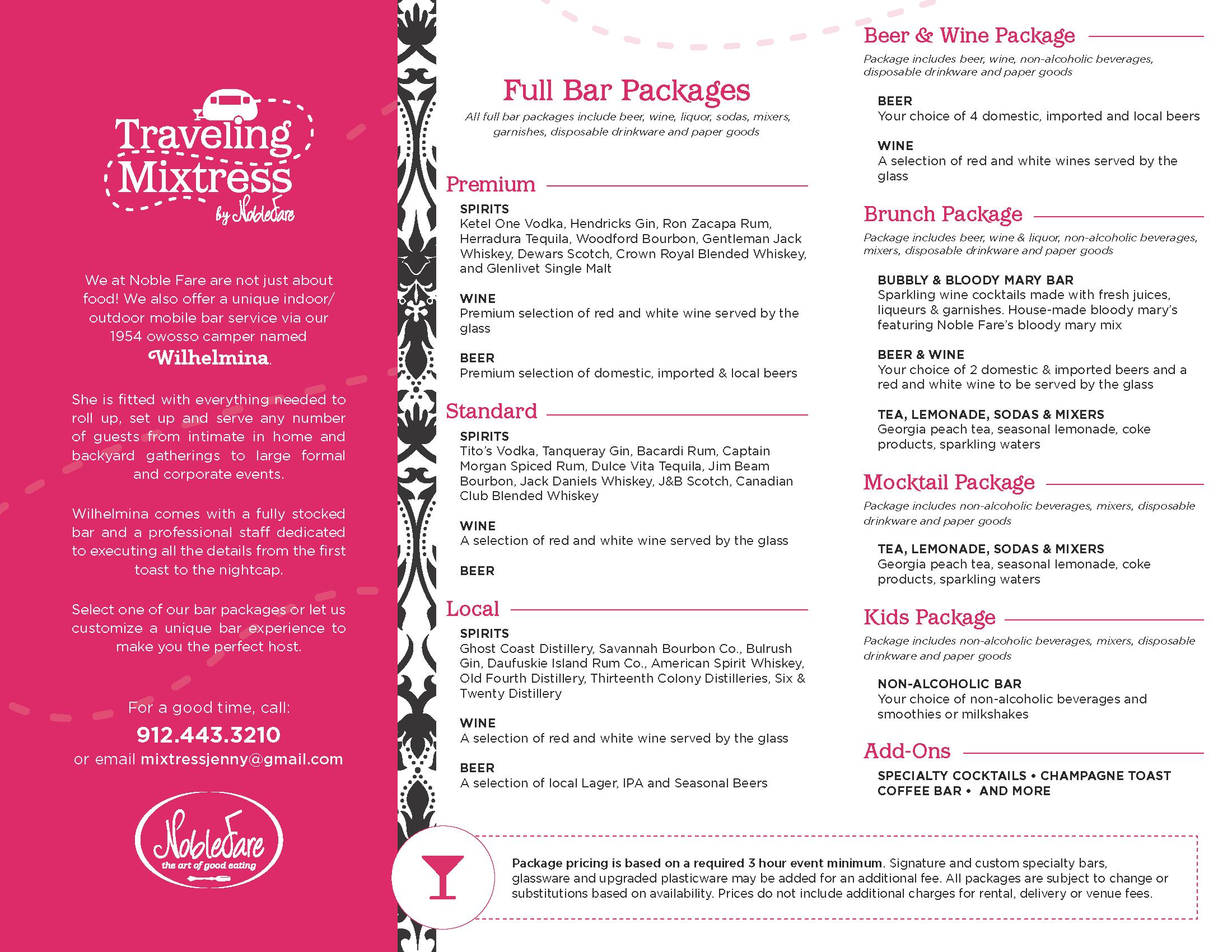 Noble Fare Catering - Traveling Mixtress Menu Brochure