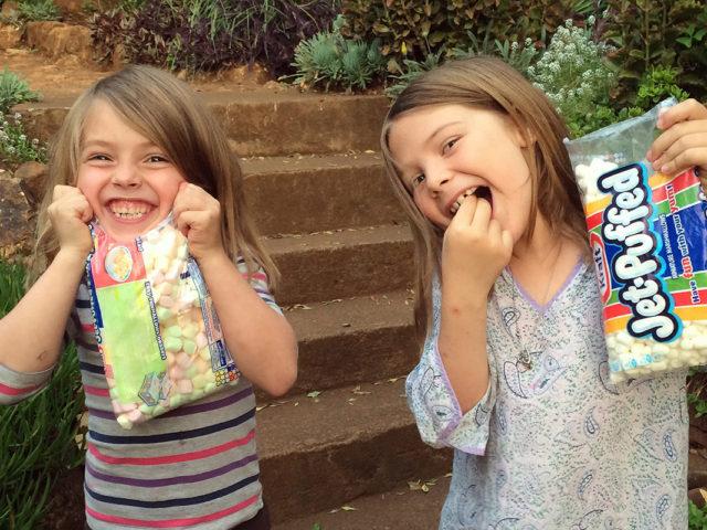 on marshmallows. . .