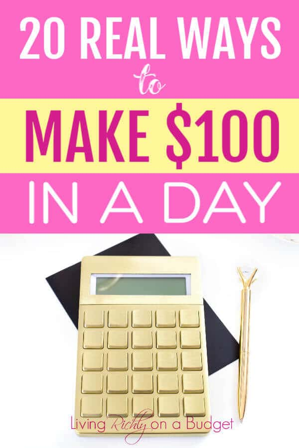 Need an extra $100? Here are some REAL ways to make $100 in a day that you can do. #makemoney #sidehustle #extramoney #extra income