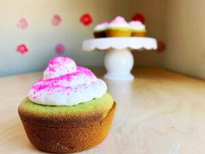 matcha mochi cupcakes on table