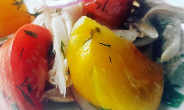 Roasted chicken heirloom tomato salad