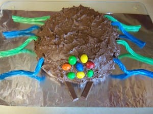 Chocolate Brownie Cake - Birthday Spider style