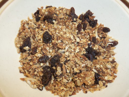 Homemade Granola - with raisins, wheat germ, coconut, oats and honey