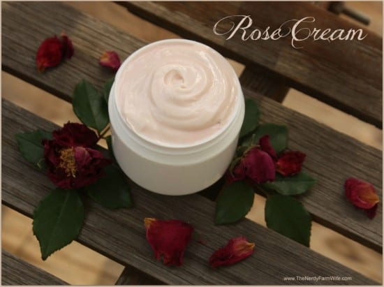 27 Last Minute DIY Gift Ideas -Rose Face and Body Cream from The Nerdy Farm Wife