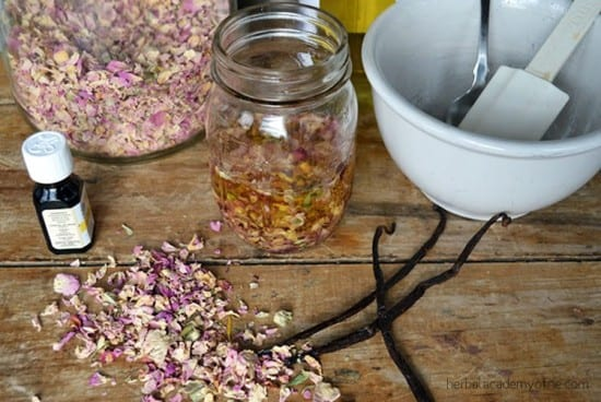 27 Last Minute DIY Gift Ideas - Rose Massage Oil from Herbal Academy of New England