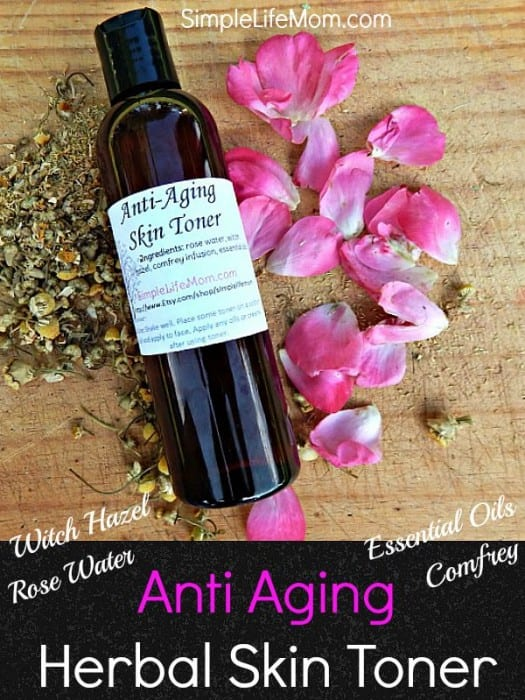 Anti Aging Herbal Skin Toner with Rose Water, Witch Hazel, Comfrey Water and Essential Oils