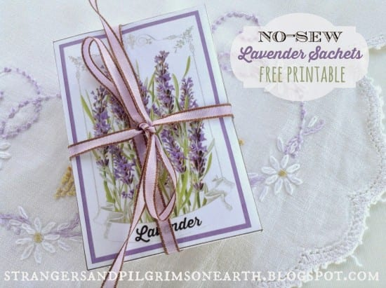 Featured on the Hoemstead Blog Hop - No Sew Lavender Drawer Sachets from Strangers and Pilgrims on Earth