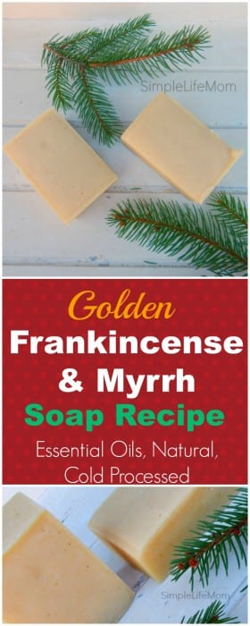 Golden Frankincense and Myrrh Soap Recipe with essential oils - Handmade Cold Processed Soap make s a great Christmas Gift @SimpleLifeMom #christmasgifts