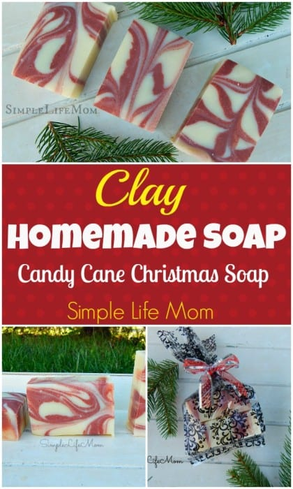 Homemade Clay Soap Recipe from Simple Life Mom - make Christmas Candy Cane Soap