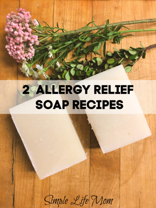 2 Allergy Relief Soap Recipes - Cold Process Soap recipe from Simple Life Mom