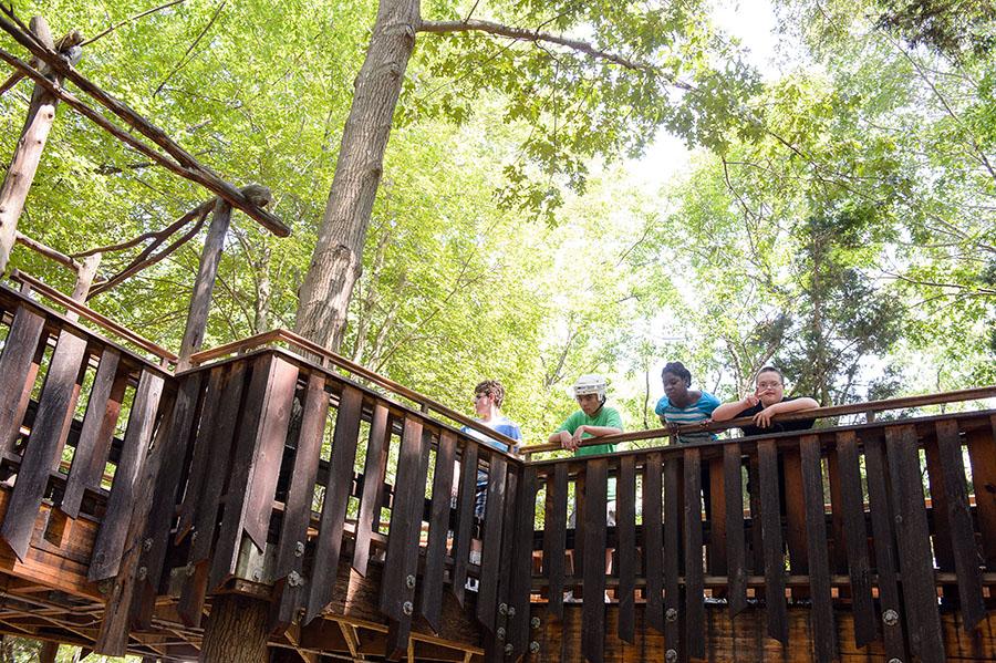 Outdoor tree house ramp