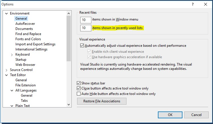 SSMS Recent Files Option