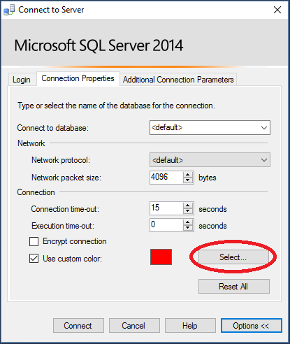 SSMS Connection Properties Dialog