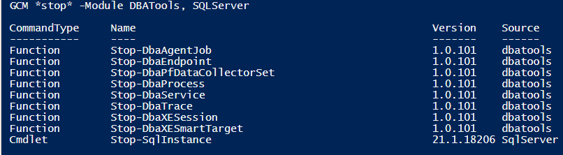 Commands With Stop in PowerShell DBATools SQLServer