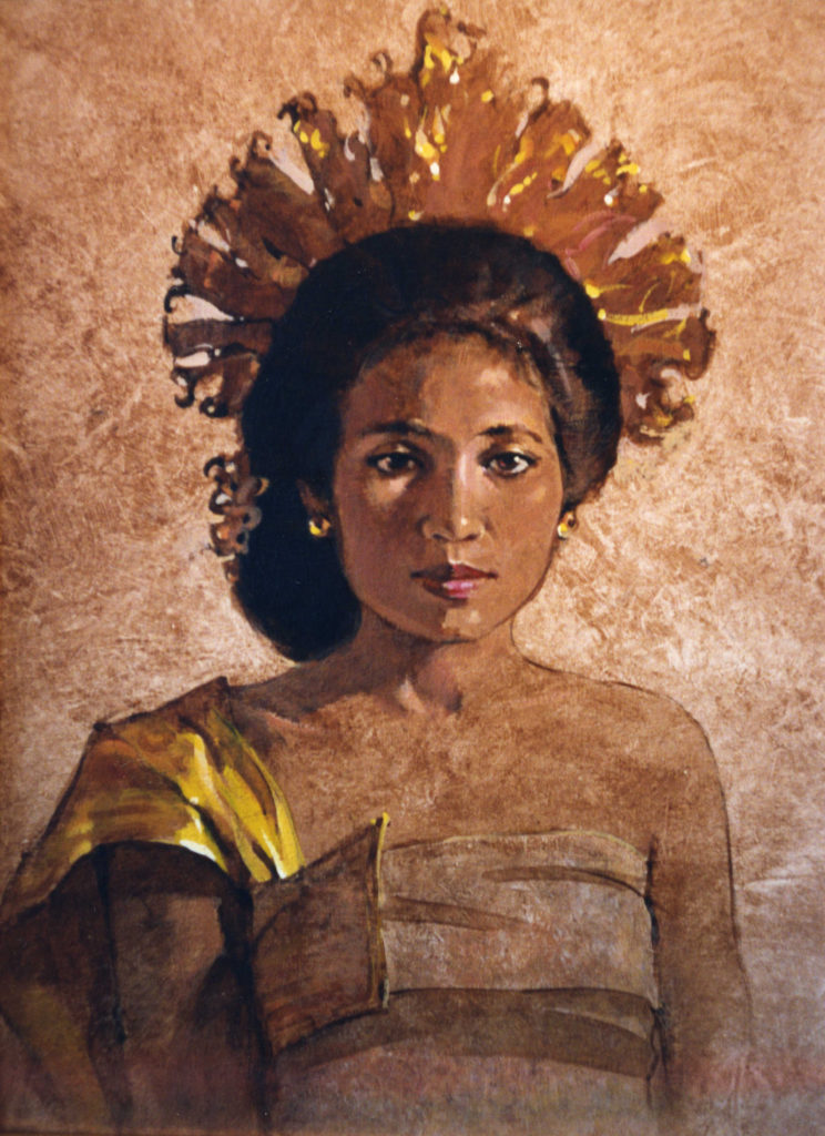 Lady with South Sea Headdress - Painted from life (Sold)