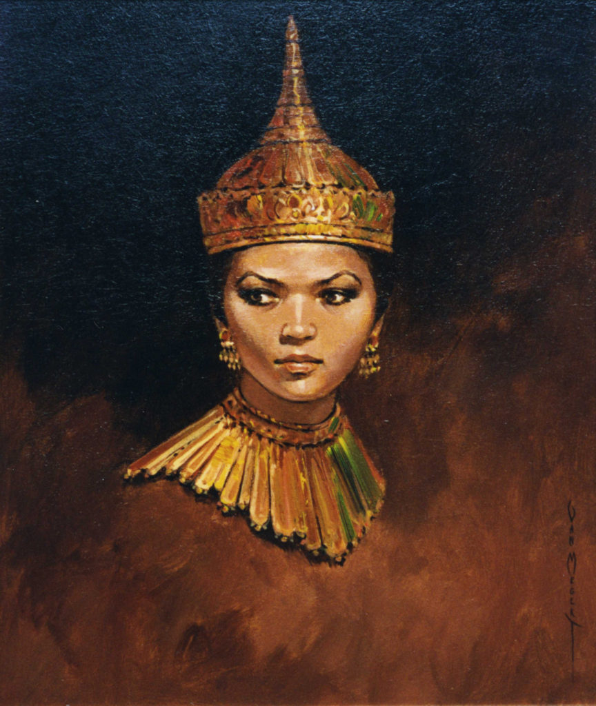 Lady with Gold Headdress and Collar - Painted From Life (Sold)