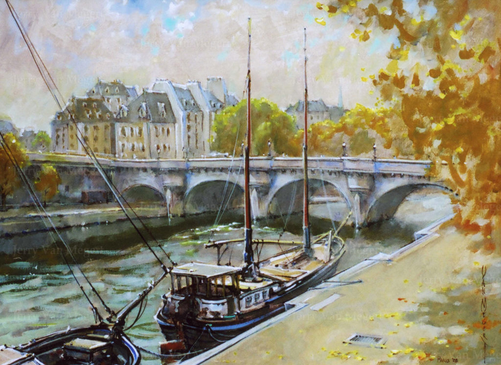 "Pont Neuf and Boat 18""x24"" (Sold)"