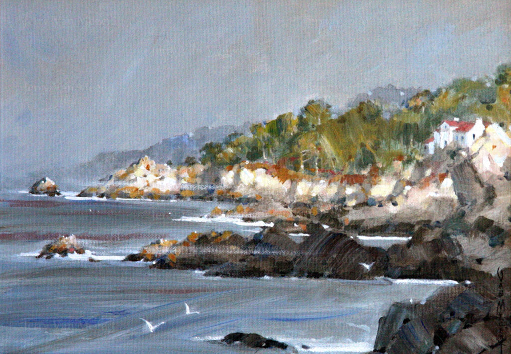 "Pebble Beach Looking North 8""x10"""