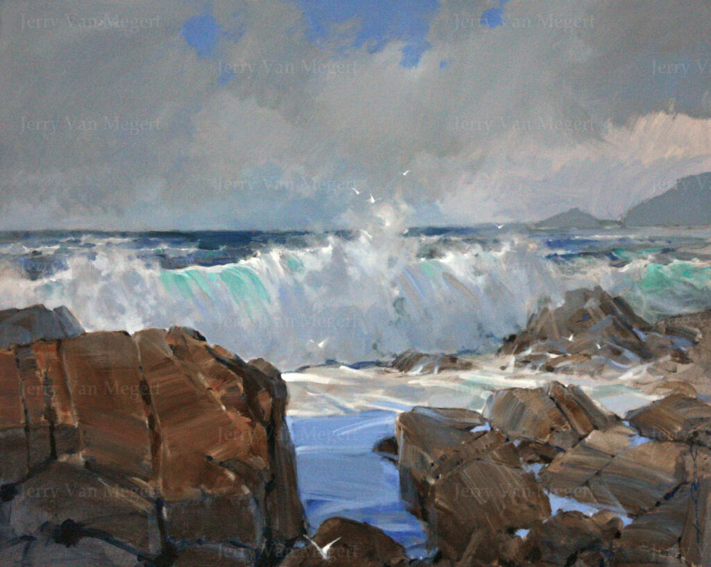 "Wave with Brown Rock, Pebble Beach 30""x40"""
