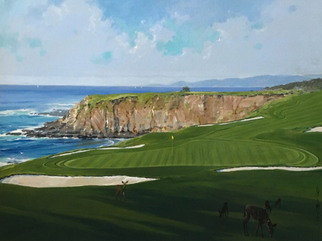 "The 8th at Pebble Beach 30""x40"""