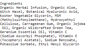 Azure Naturals Hyaluronic acid ingredients