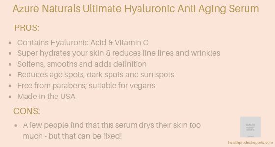 Azure Naturals Ultimate Hyaluronic Anti Aging Serum