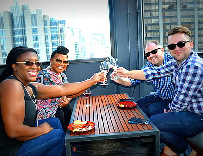 Four Wine Crawl attendees Rooftop Crawl