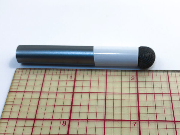 a single mouth stick replacement head with a salt tip beside a ruler, showing it measures 2.25 inches.