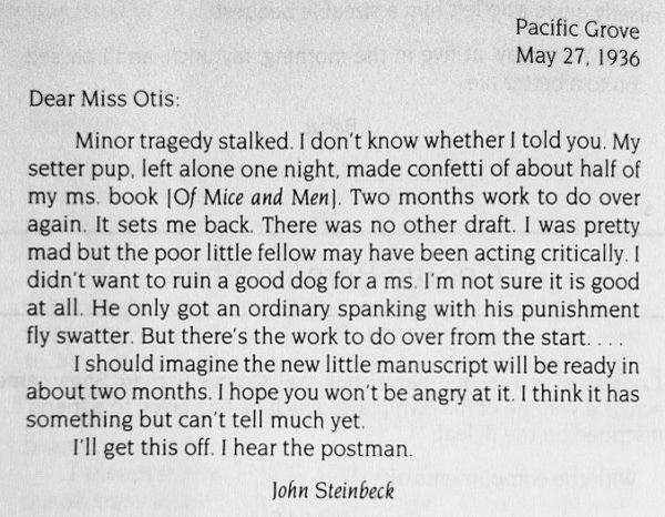 John Steinbeck letter