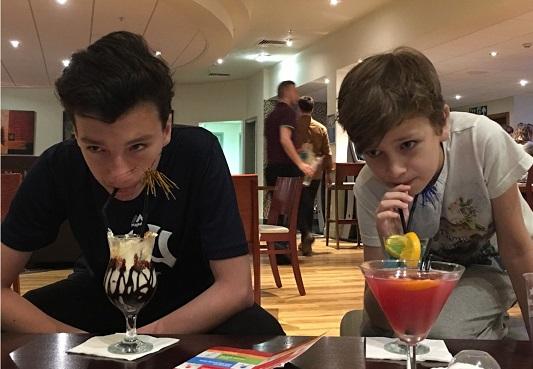 Kids in bar drinking Mocktails